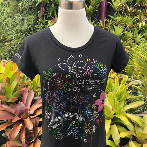 Gardens by the Bay - Merchandise Collection - Ready to Wear - Ladies Rhinestone T-Shirt - Mrtwlrt Gardens Scenery Floral Ladies' T-Shirt (Black)