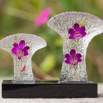 Gardens by the Bay - Supertree Preserved Orchid Collection - TWIN SUPERTREES PRESERVED DENDROBIUM ORCHID PAPERWEIGHT (MEDIUM)