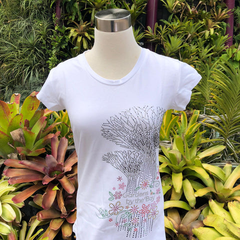 Gardens by the Bay - Merchandise Collection - Ready to Wear - Ladies Rhinestone T-Shirt - Mrtwlrt Twin Supertrees Floral Ladies' T-Shirt (White)