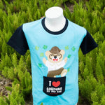 Gardens by the Bay - Wise Wee & Precious Peggy Collection - WISE WEE KIDS T-SHIRT WITH POCKET (BABY BLUE / DARK BLUE)