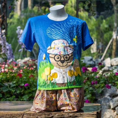 Gardens by the Bay - Gardens by the Bay Bear Collection - WISE WEE SUPERTREE AND TULIPS WITH BRAND PATTERN PATCHWORK KID'S T-SHIRT (BLUE)
