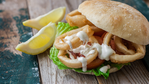 Buy beer battered calamari sandwich in Kingston