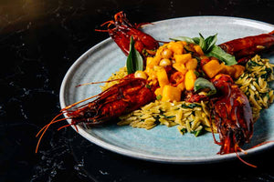 Carabineros with Mango Salsa and Pesto Orzo