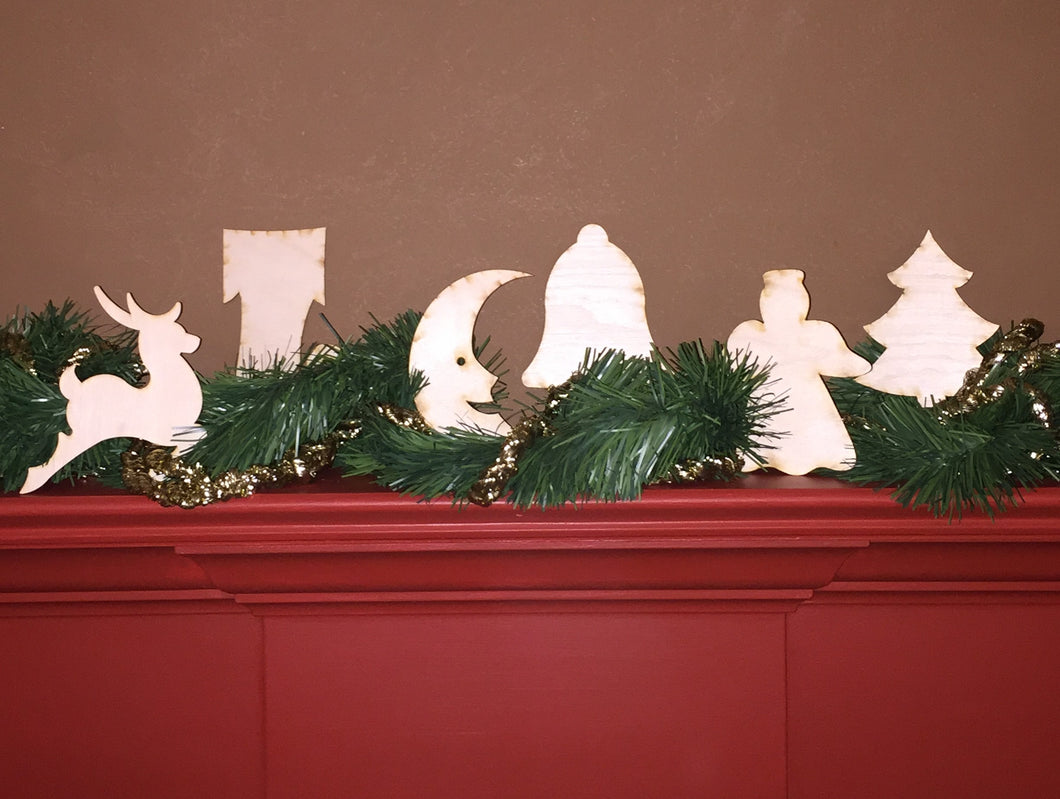 Wood Ornament Size Christmas Shaped Cut Outs