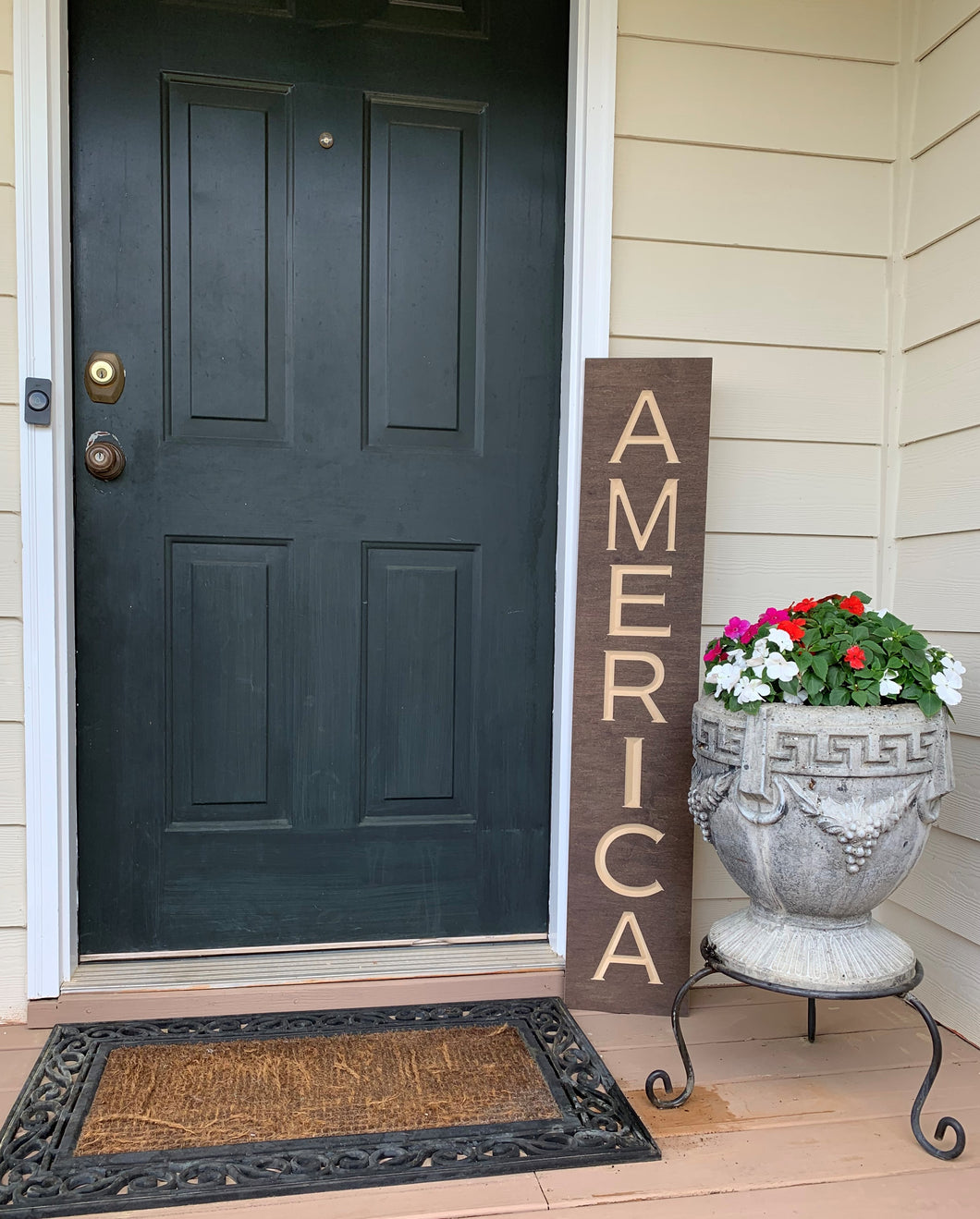 Wooden Welcome Sign - America
