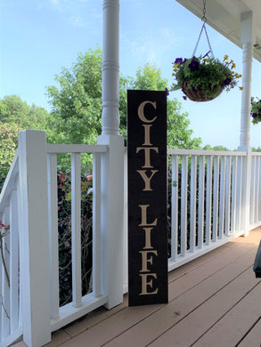 Wooden Welcome Sign - City Life