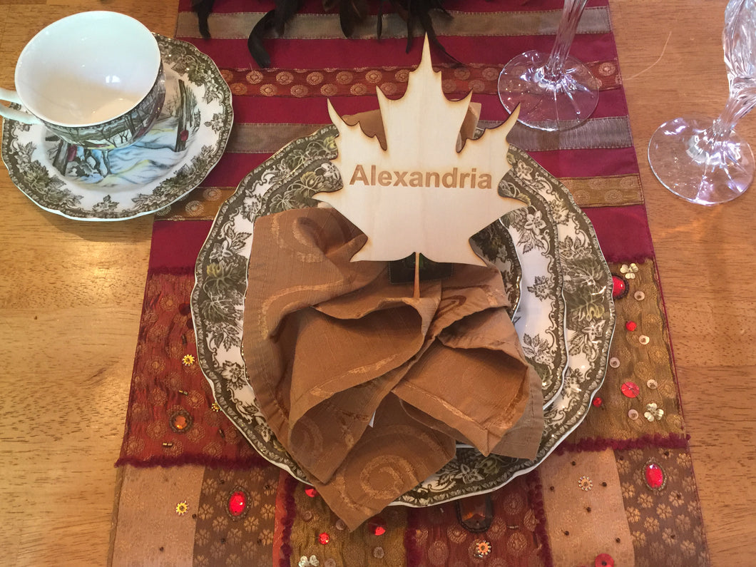 Wood Maple Leaf Shaped Place Card, Engraved, Personalized