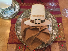 Load image into Gallery viewer, Wood Pilgrim's Hat Shaped Place Card, Engraved, Personalized