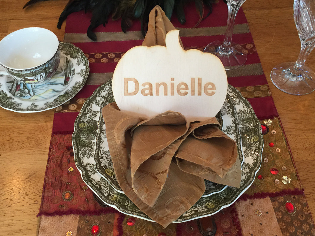 Wood Pumpkin Shaped Place Card, Engraved, Personalized