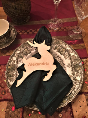 Wood Reindeer Shaped Place Card, Engraved, Personalized