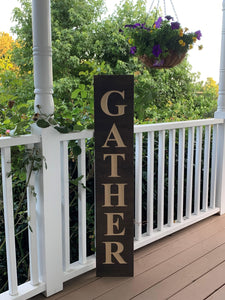 Wooden Welcome Sign - Gather