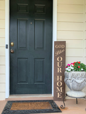 Wooden Welcome Sign - God Bless Our Home