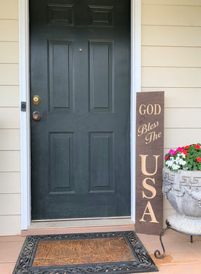 Wooden Welcome Sign - God Bless The USA