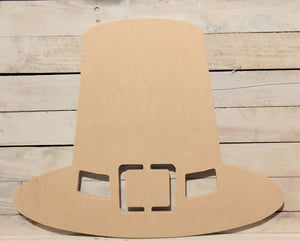 Unfinished, Wood, Pilgrim's Hat, Large