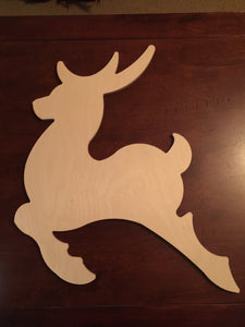 Unfinished Wood Reindeer, large