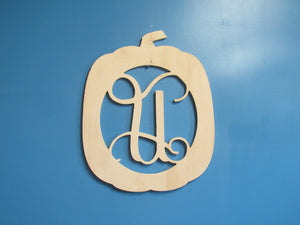 Unfinished, Wood, Large Monogram Pumpkin (tall)
