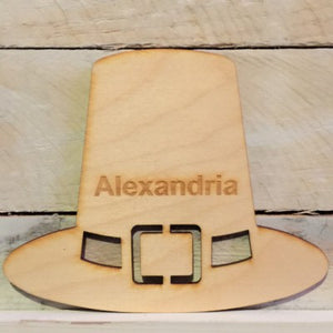 Wood Pilgrim's Hat Shaped Place Card, Engraved, Personalized