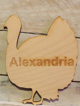 Load image into Gallery viewer, Wood Turkey Shaped Place Card, Engraved, Personalized