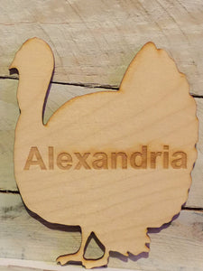 Wood Turkey Shaped Place Card, Engraved, Personalized