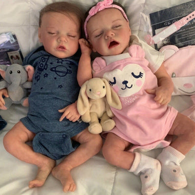 17 '' Real Lifelike Twins Sister Daphne  And Lloyd Sleeping Reborn Baby Doll Girl , Birthday Present Gift