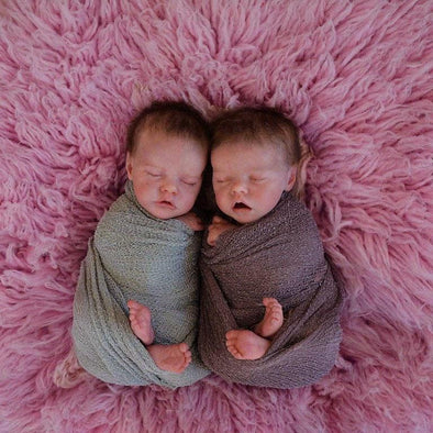 17 '' Real Lifelike Twins Sister Aidan And Nadia Sleeping Reborn Baby Doll Girl , Birthday Present Gift