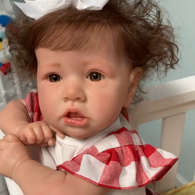 22'' Pretty Erica With Brown Hair And Eyes Reborn Baby Doll Girl, Lifelike Realistic Baby Doll