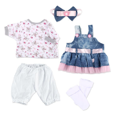 Reborn Baby Dolls Clothes Denim Dress Suit For 20- 22 Inch Reborn Doll Girl Baby Clothing Baby Sets Reborn Dolls Matching Clothing 4 Pcs Set