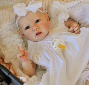 22'' Little Bald Sariah With Blue Eyes Reborn Handmade Baby Doll Girl