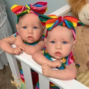 22'' Twin Sisters Little Veda And Sariah Reborn Baby Doll Girl, Handmade Weighted Vinyl Silicone  Babies Dolls