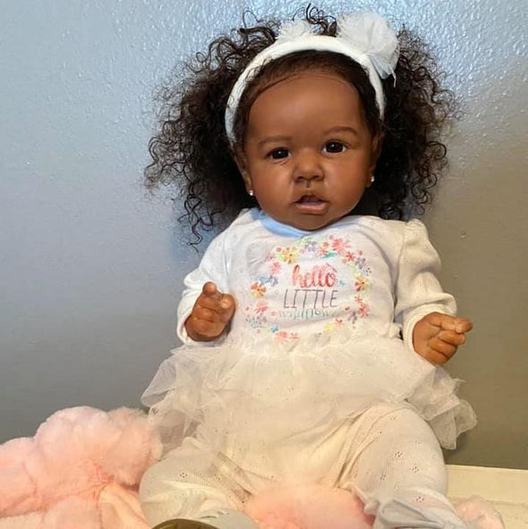 "[Mid-Year Offer] 22'' Diaz Black Reborn Baby Doll Girl With Coos And ""Heartbeat"" , Birthday Present"