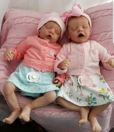 17 '' Real Lifelike Twins Sister Dora And Doris Sleeping Reborn Baby Doll Girl , Birthday Present Gift