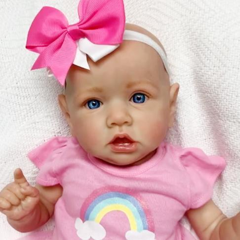 22'' Little Bald Cute Holland With Blue Eyes, Lifelike Handmade Soft Body Toy, Weighted Reborn Baby Girl