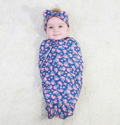Adorable Baby Swaddle Blanket And Headband Set