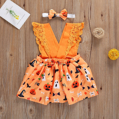 0-18M Halloween Newborn Infant Baby Girl Romper Cartoon Pumpkin V neck Lace Ruffles Jumpsuit Party Costumes