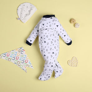 Casual White Letter Jumpsuit For 22'' Reborn Baby Doll Boy