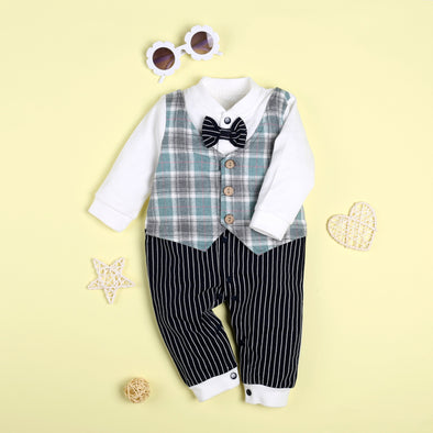 Gentleman Bowknot Decor Stripe Long-Sleeve Jumpsuit For 22'' Reborn Baby Doll Boy