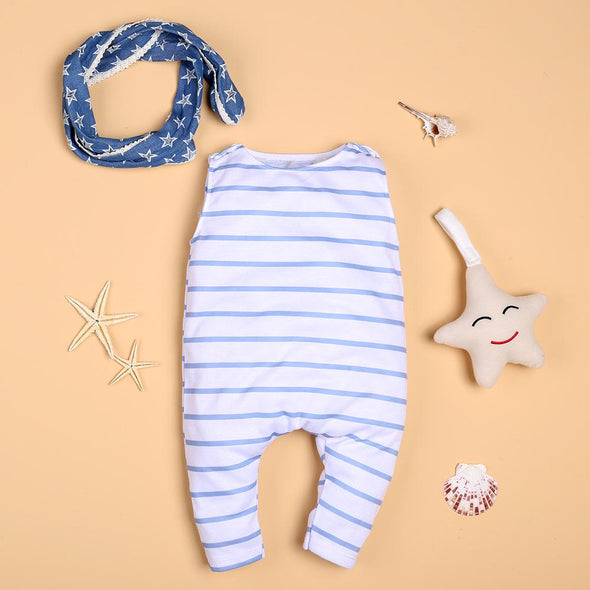 Leisure Blue Striped Jumpsuit For 22'' Reborn Baby Doll Boy/Girl