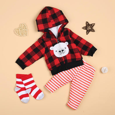 Red Checkered Warm Bear Coat And Striped Pants Suit For 22'' Reborn Baby Doll Boy/Girl