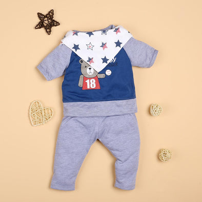 Gray Cartoon Bear Tee And Pants Suit For 22'' Reborn Baby Doll Boy/Girl