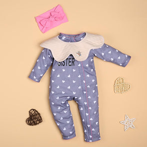 Baby Fashion Zipper With White Love Jumpsuit For 22'' Reborn Baby Doll Girl