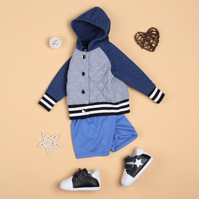 Grey Button Jacket And Blue Pant Set For 22'' Reborn Baby Doll Boy