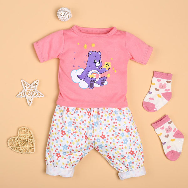 Pink Cartoon T-Shirt And Flower Pants Set For 22'' Reborn Baby Doll Girl