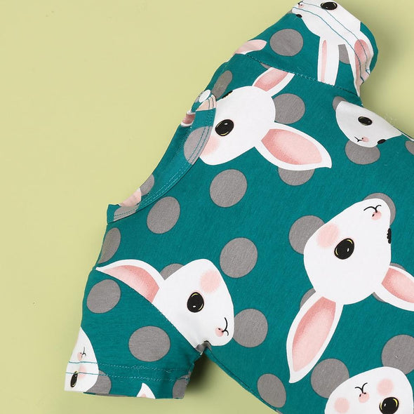 Summer Cool Green Cartoon Rabbit Jumpsuit For 22'' Reborn Baby Doll Girl