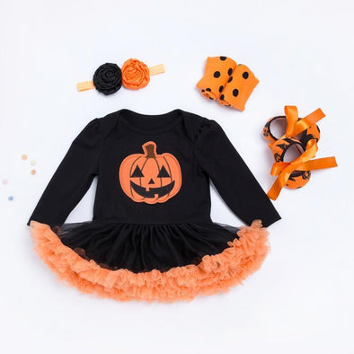 "4 Pcs Long Sleeve Halloween Pumpkin Dress Suit for 20""- 22"" Reborn Baby"