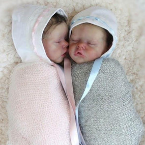 17 '' Real Lifelike Twins Sister Debra And Demi Sleeping Reborn Baby Doll Girl , Birthday Present Gift