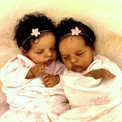 17 '' Real Lifelike Twins Sister Johan  And Lloyd Sleeping Reborn Baby Doll Girl , Birthday Present Gift