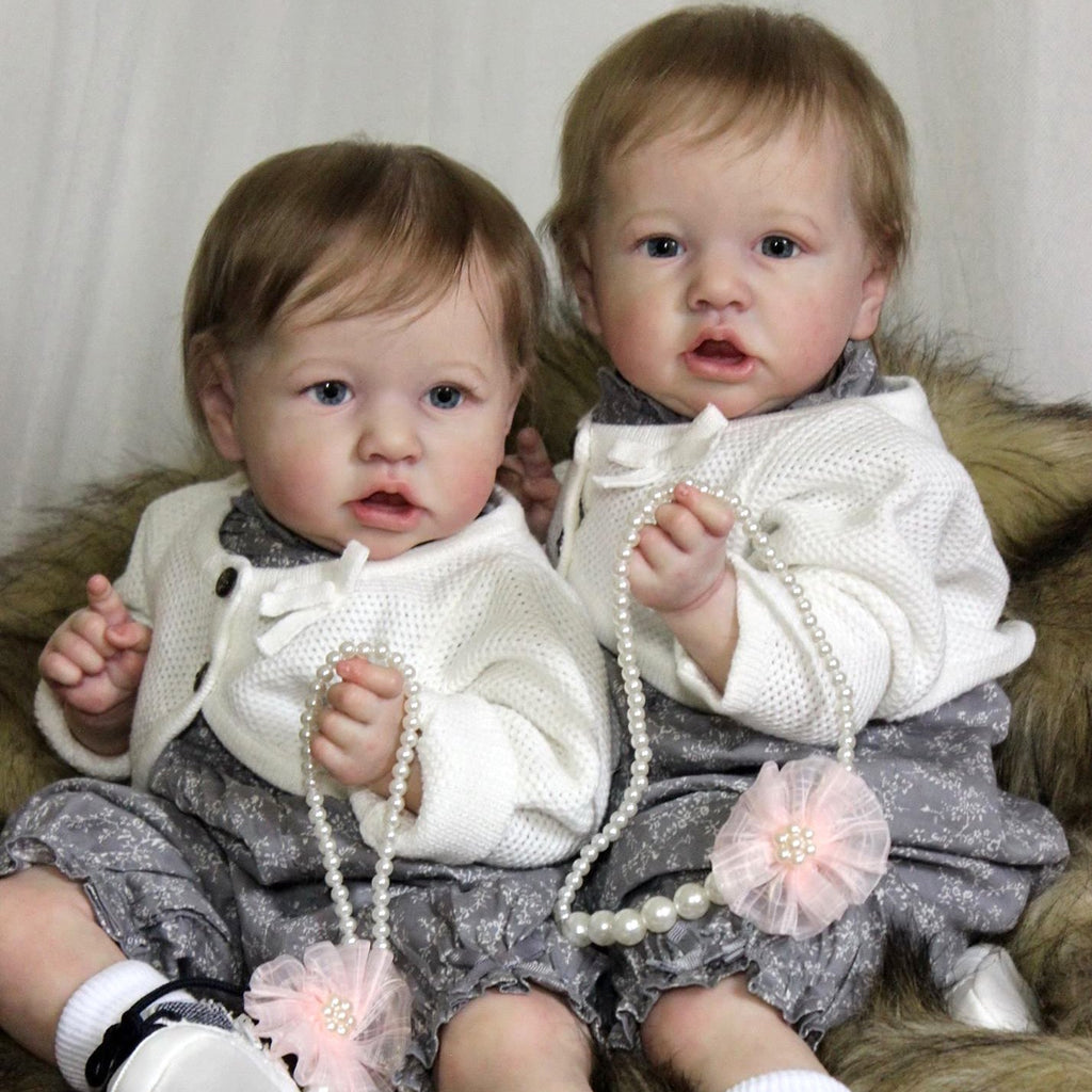 22'' Twin Sisters Little Katia and Belinda Reborn Baby Doll Girl,Quality Realistic Handmade Babies Dolls