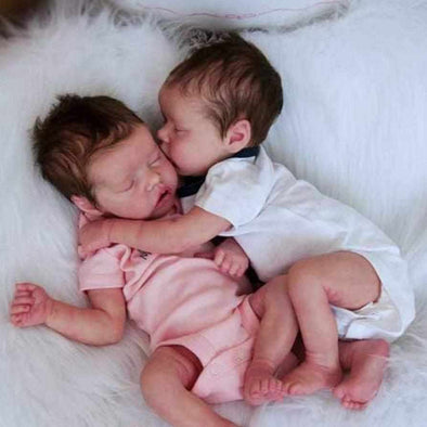 17 '' Real Lifelike Twins Sister Priscilla and Sara Reborn Baby Doll Girl