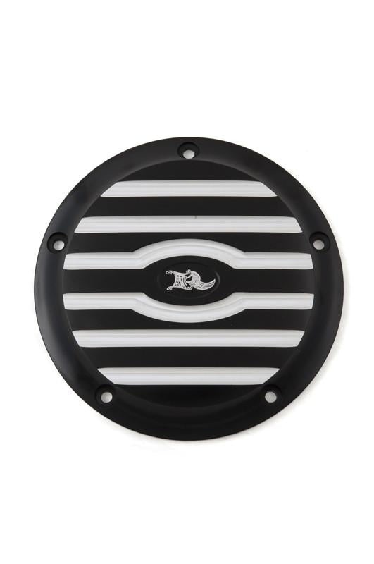 Ribbed Derby Cover, 5-Hole, Black Machine Cut
