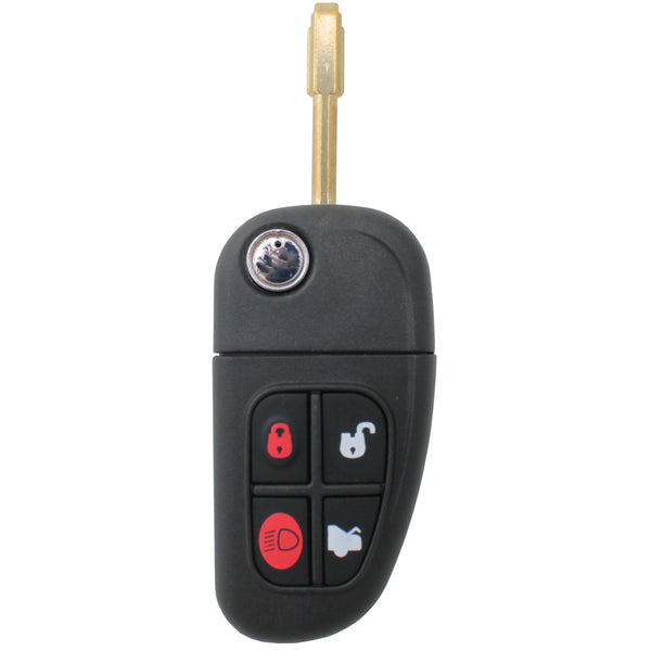 Complete Jaguar Transponder Remote Flip Car Key XJ X-Type S-Type XJ XK 4 Button